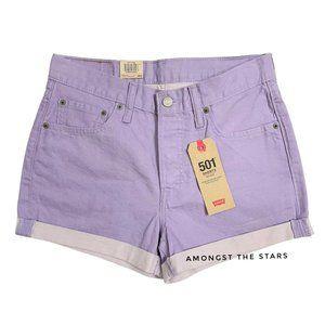 Levi's 501 Lilac Purple Fold Over Denim Shorts